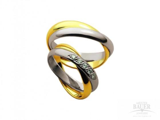 Trauringe Partneringe Weißgold Gelbgold 585/-, Paar