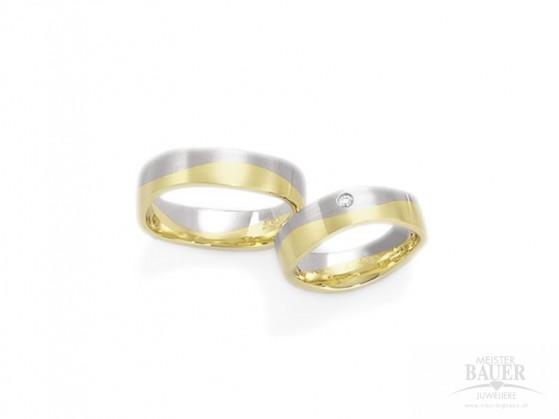 Trauringe Partnerringe Gelbgold Weißgold 585/- , Paar