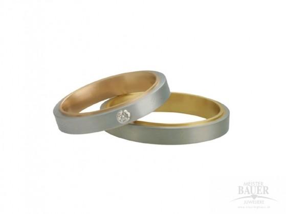 Trauringe Partnerringe Platin 950/- Rotgold 750/-, Paar