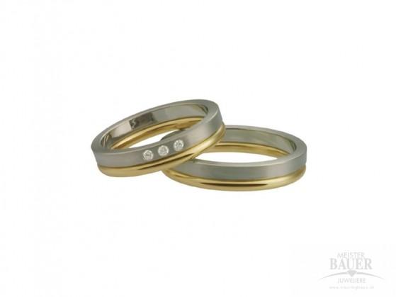 Trauringe Partnerringe Weißgold Gelbgold 585/-, Paar