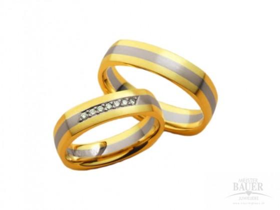 Trauringe Partnerringe Gelbgold Weißgold 585/-, Paar