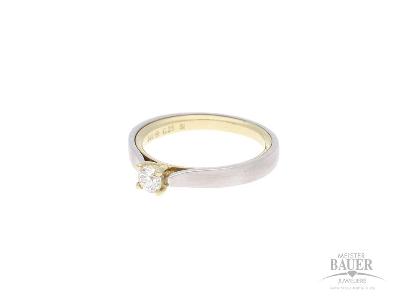 Verlobungsring 585/- Gelb/-Weißgold