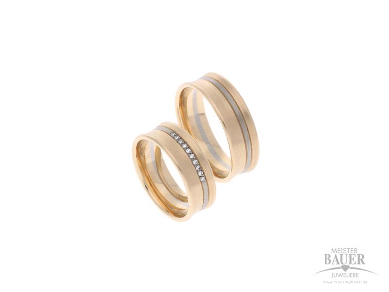Trauringe Rosé/-Weißgold 585/-